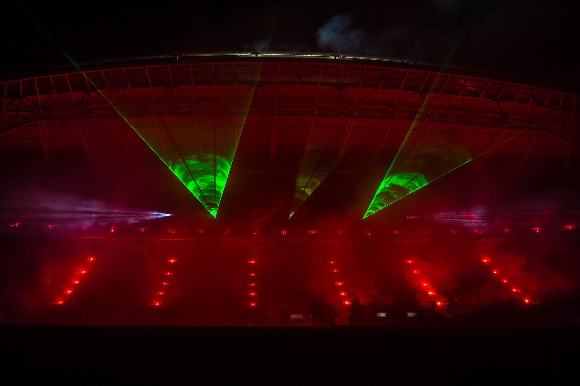 Lasershow im Fußballstadion